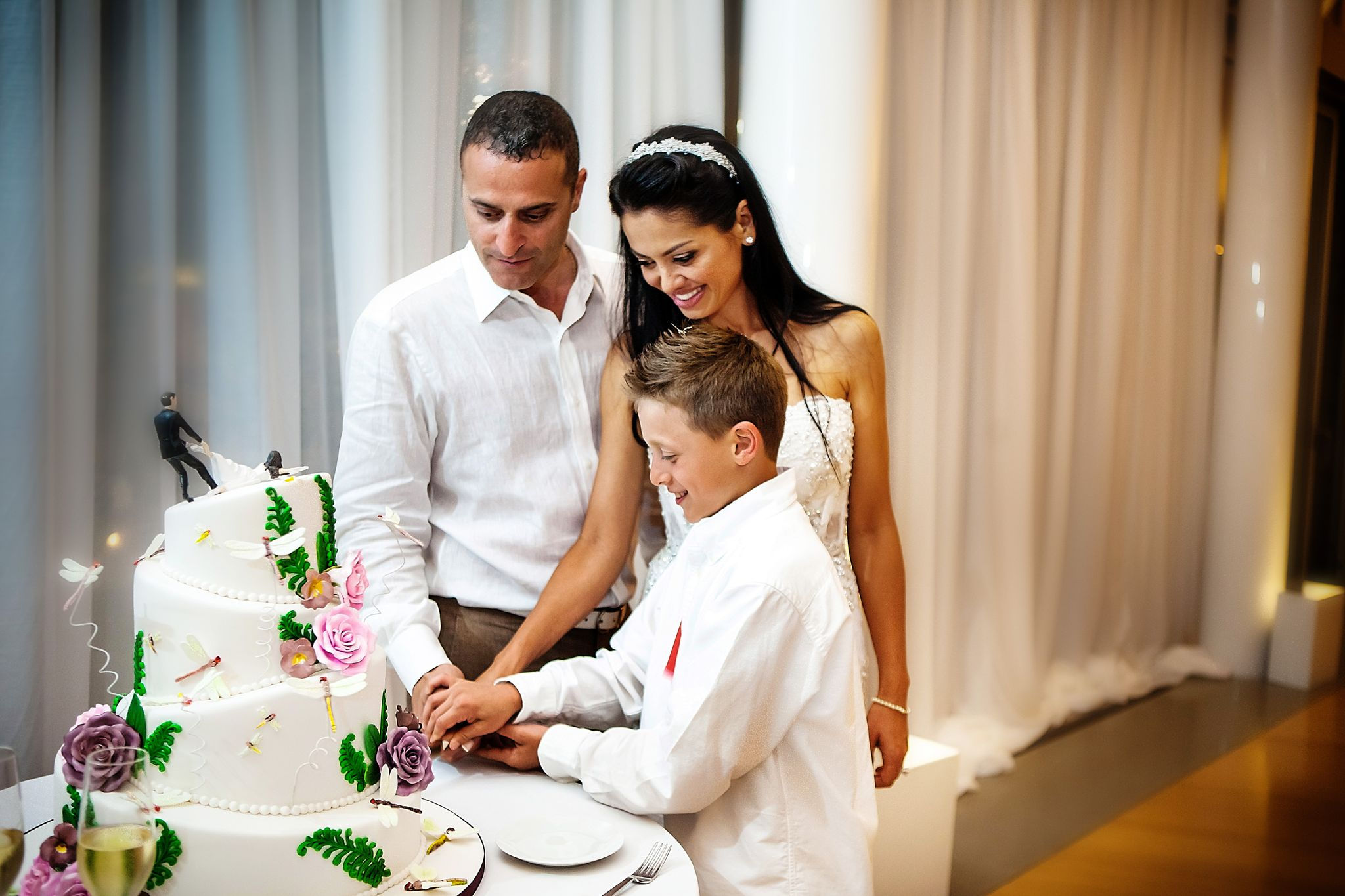 cake cutting with son