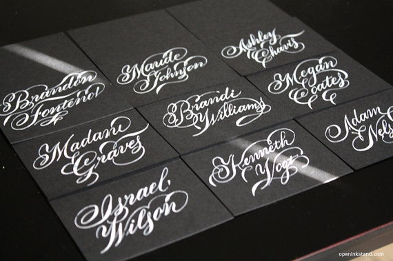 calligraphy - escort black and white
