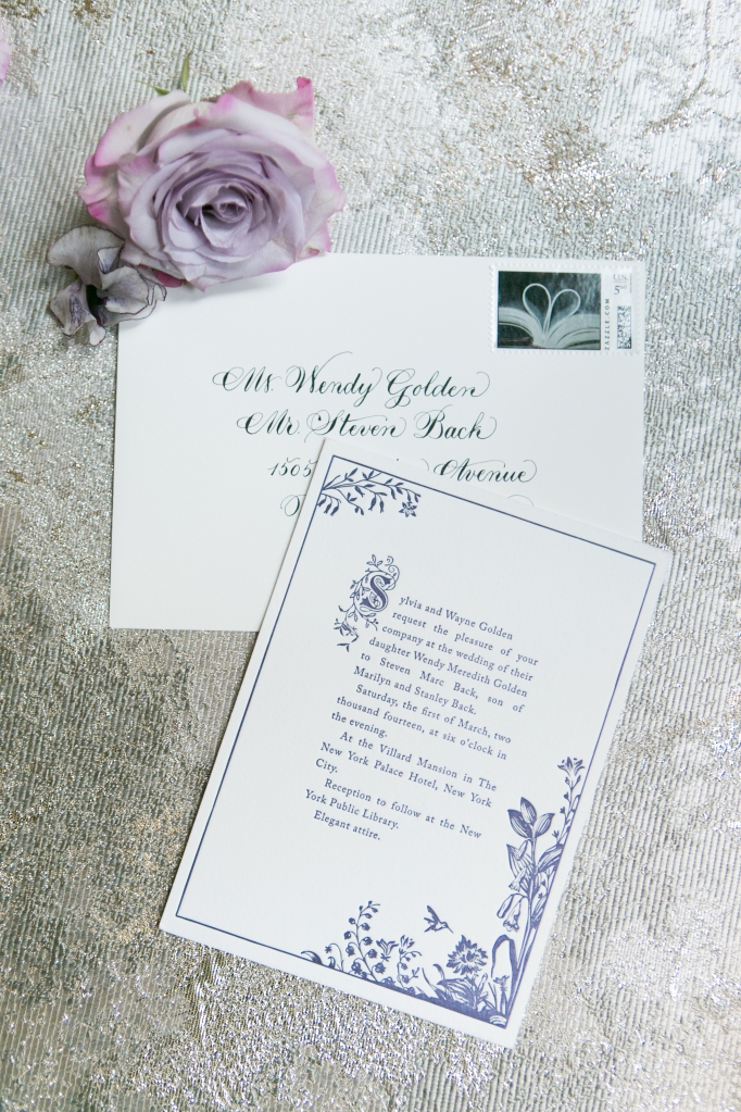 Storybook wedding invitations for The New York Public Library, planned by In Any Event NY