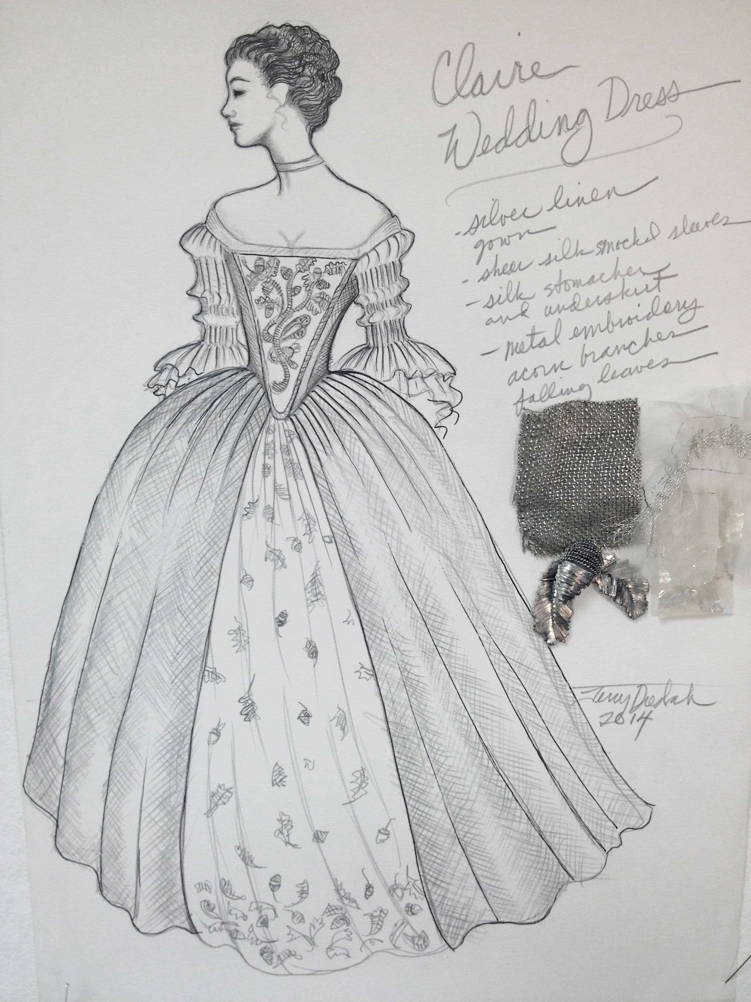 sketch of Claire's wedding gown